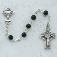 (C23LB) SS 5MM BLK CELTIC COMM ROSARY
