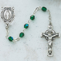 (C49LW) SS 4MM GREEN IRISH ROSARY