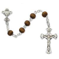 (C7LB) SS 6MM BROWN WOOD ROSARY