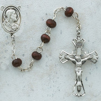 (C8RB) BROWN WOOD ROSARY