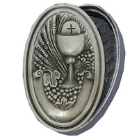 (CBD) OVAL PEWTER COMMUNION BOX