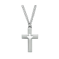 "(D618) PEWTER CROSS WITH 24"" ENDLESS"
