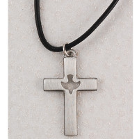 (D618LC) PEWTER CROSS LEATHER CORD/CARD