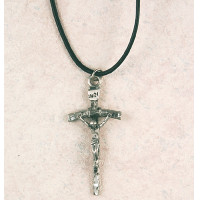 (D660LC) PEWTER PAPAL CRUCIFIX CORD