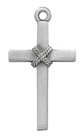 (D8018) PEWTER CROSS/ROPE