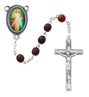 (363R) 6MM RED DIVINE MERCY ROSARY