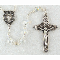 (R140LF) SS 6MM CRYSTAL TIN CUT ROSARY