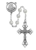 (R143ASF) 7MM WHITE GLASS ROSARY