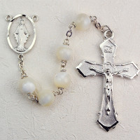 (R275RF) 8MM MOTHER OF PEARL ROSARY