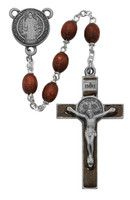 (R390DF) 7MM BROWN ST BENEDICT ROSARY
