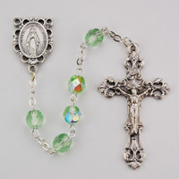 (R391-PEKF) 6MM AB PERIDOT/AUGUST ROSARY
