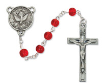 (R440DF) 6MM RED GLASS H.S. ROSARY