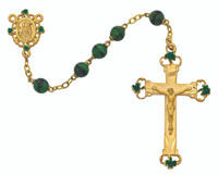 (R584HF) 7MM GP GREEN MARBLE ROSARY
