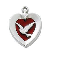 """(RC652) RF RED ENAMEL HEART W/DOVE 18"""""""