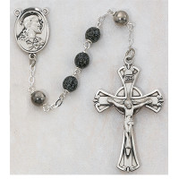 (587L/F) SS 7MM GREEN/BLACK ROSARY