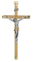 "(79-42642) 8"" WIDE BRASS TUTONE CRUCIFIX"