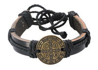(BR563) LEATHER ST. BENEDICT ROPE BRAC