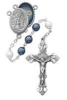 (R608DF) BLUE AND PEARL LOURDES ROSARY