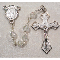 (6ABR-CR/F) 6MM TIN CUT CRYSTAL ROSARY