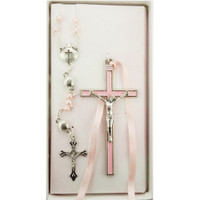 (BS53) PINK CRUCIFIX & SHELL ROSARY