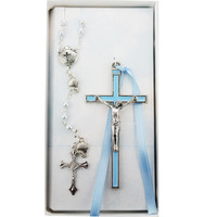 (BS54) BLUE CRUCIFIX & SHELL ROSARY