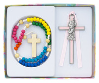 (BS56) KIDDIE ROSARY/GIRL CROSS SET