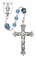 (R611LF) SS BLUE CAPPED TIN CUT ROSARY