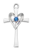 (L9177) SS CROSS W/BLUE STONE & HEART