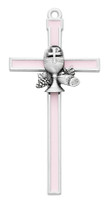 "(75-42) 5"" PINK EPOXY COMMUNION CROSS"