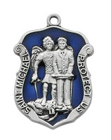 "(D758) PEWTER ST MICHAEL MEDAL 24"" CH"