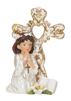 (75-47) COMMUNION GIRL W/CROSS STAND