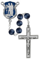 (R640DF) 8MM BLUE WOOD POLICE ROSARY
