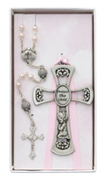 (BS58) PINK CROSS & SHELL ROSARY