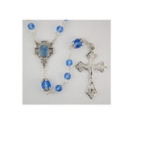 (R643F) BLUE CRYSTAL ROSARY, BOXED