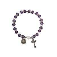 (BR812C) AMETHY ROSARY BRACELET, CARDED