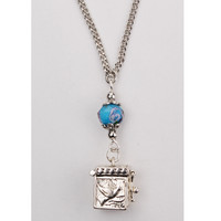 "(NK123C) 18"" AQUA PRAYER BOX PENDANT"