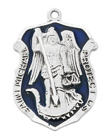 "(L764) SS ST MICHAEL BADGE 24"" CHAIN"