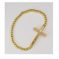 (BR84) GOLD CROSS STRETCH BRACELET
