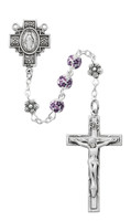 (R633F) 6MM PURP FLOWER CERAMIC ROSARY