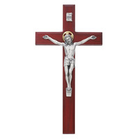 "(80-158) 8"" BEVELED CHERRY CRUCIFIX"