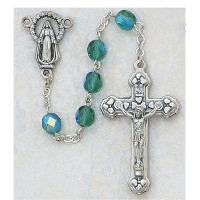 (120-EMR) 6MM AB EMERALD/MAY ROSARY