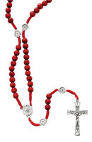 (P265R) RED WOOD CORD H.S. ROSARY