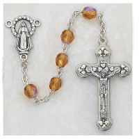 (120-TOR) 6MM AB TOPAZ/NOVEMBER ROSARY