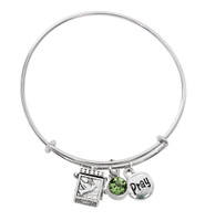 (BN639L-PE) PERIDOT PRAYER BOX BANGLE BRAC