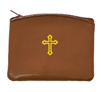 (RP2) BROWN LEATHER ROSARY CASE