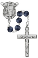 (R685DF) 8MM BLUE WOOD POLICE ROSARY