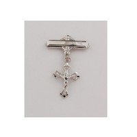 (471L) SS CRUCIFIX RF BABY PIN, BOXED