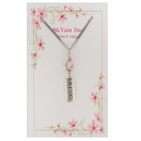 "(NK150C) 18"" PINK BLESSED PENDANT"