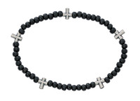 (BR896C) BLACK WOOD CROSS STRETCH BRAC