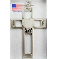 "(71-19) 6"" PEWTER WEDDING CROSS"
